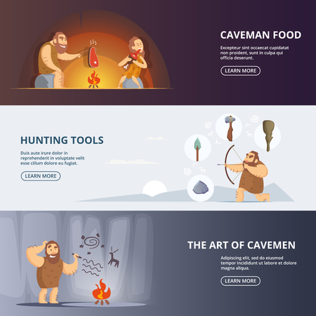 Caveman and woman in prehistoric period. Banners set with place for your text