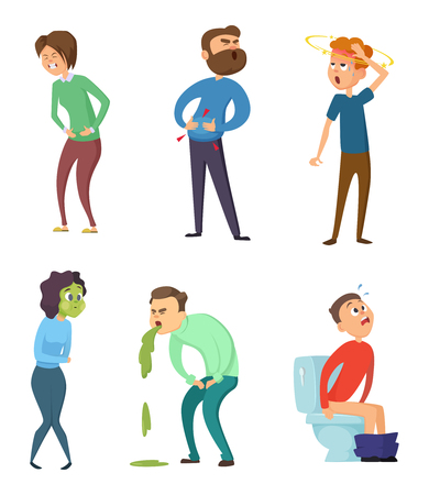 Stomachache poison and diarrhea. Healthcare illustrations. Vector characters set Illusztráció