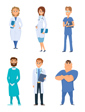 Different medical personal. Male and female doctors. Cartoon characters medical occupation, doctor surgeon vector illustration Vettoriali