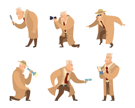Detective in different action pose. Vector character in cartoon style Imagens