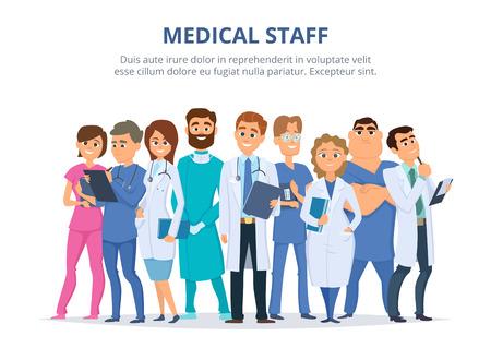 Groep mannelijke en vrouwelijke artsen.