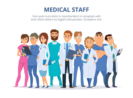 Group of male and female doctors. Illustration