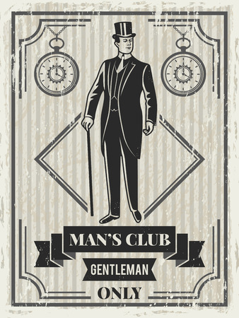 Design template of retro poster for gentleman club.