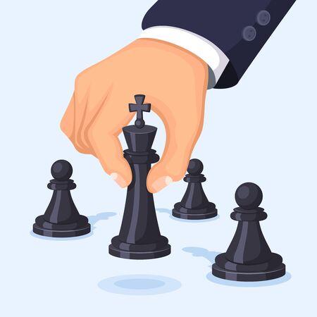 Hand moving chess. Illustration