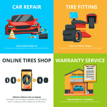 Concept illustrations of auto tire service. Stock Illustratie