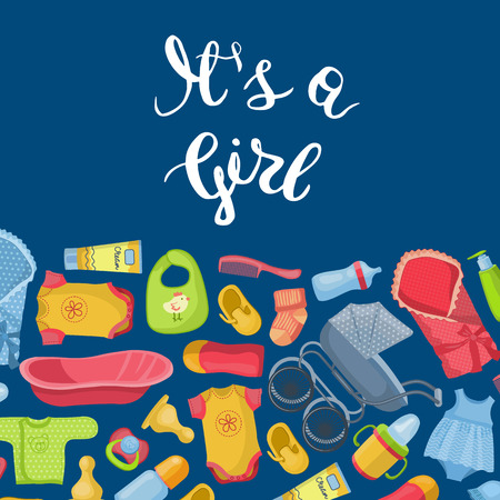 Vector of It is a girl illustration with lettering and baby accessories banner poster cartoon style