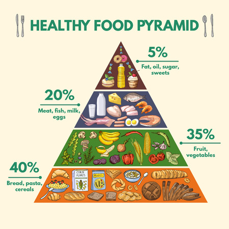 Healthy food pyramid. Infographic pictures with visualization of different groups of nutritions from food Çizim