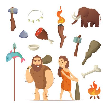 Diferentes herramientas del período prehistórico. Armas antiguas primitivas para hombre de las cavernas.