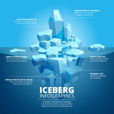 Infographic illustration with blue iceberg in ocean Vettoriali