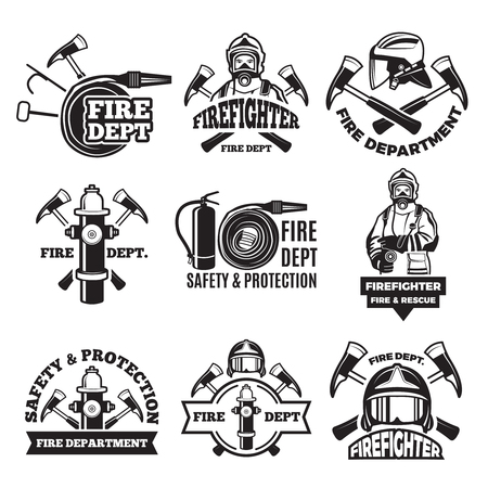 Monochrome labels set for fire department. Pictures of fireman