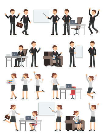 Different business peoples male and female in action poses. Woman at work. Illustrations of characters 일러스트