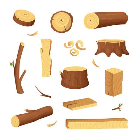 Matériaux pour l'industrie du bois. Bois d'arbre, tronc. Images vectorielles en style cartoon Vecteurs
