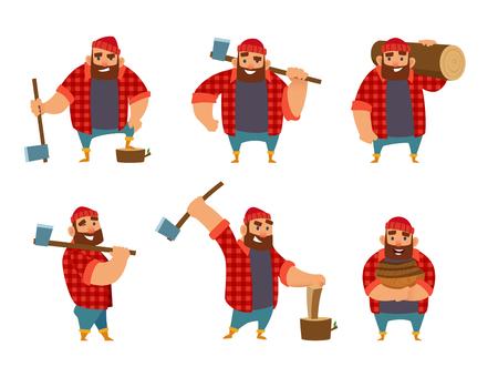 Holzfäller in verschiedenen Posen hält Axt in den Händen . Vektor-Illustration auf weißem Hintergrund Standard-Bild - 93068071