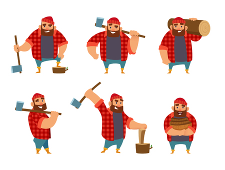 Lumberjack in different poses holding ax in hands. Vector pictures isolated on white background.