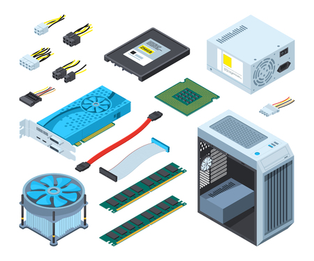 Illustrations of different electronic parts and components for computer