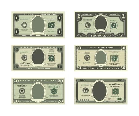 Szablon fałszywych pieniędzy. Obrazy wektorowe dolarów Ilustracje wektorowe