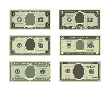 Template of fake money. Vector pictures of dollars Çizim