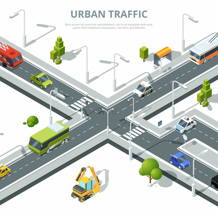 City crossroad. Illustrations of urban traffic with different cars. Vector isometric pictures Stock Vector - 93072302