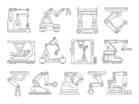 Robotic machines for production. Mono line vector pictures set