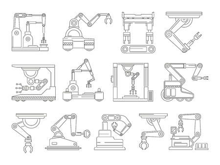 Robotic machines for production. Mono line vector pictures set