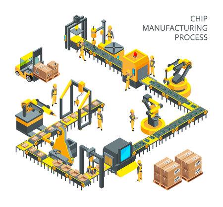 Industriële productie van computeronderdelen. Werktuigmachines voor automatiseringsprocessen