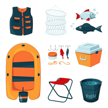 Different tools for fishing. Vector icons set in cartoon style