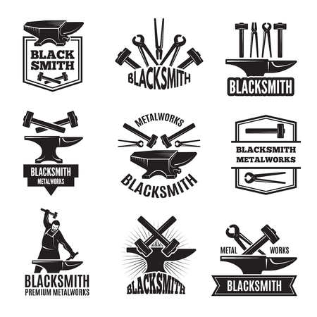 Black logos for blacksmith. Vintage labels set Banco de Imagens - 93072549