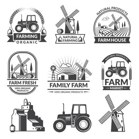 Vector set of farm logos Иллюстрация