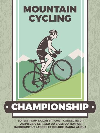 Design template of vintage poster for bicycle club illustration.