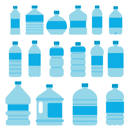 Illustrations of empty plastic bottles in flat style.
