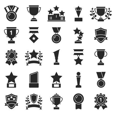 Monochrome pictures set of winner cups and sport trophies illustration. Stock Illustratie