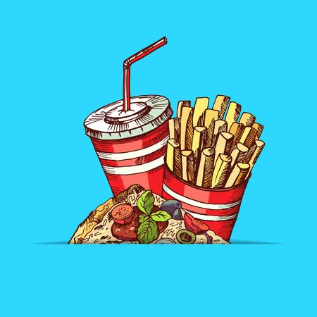 Vector hand drawn colored fast food elements illustration Illustration