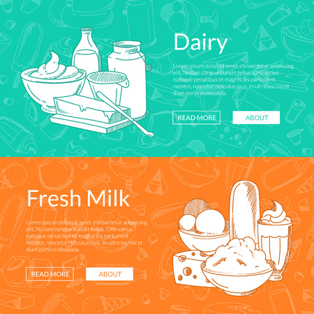 Vector horizontal banners with place for text and hand drawn dairy products gathered together on dairy pattern background illustration