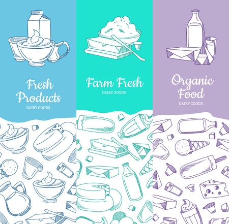 Vertical banners or posters with sketched dairy goods and place for text illustration.