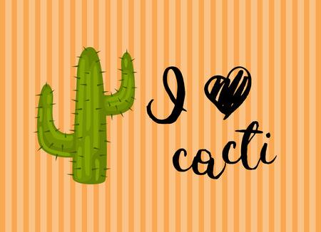 Vector horizontal illustration with wild desert cactus