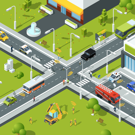 Wireless connection inside urban traffic. Illustration of crossroad in isometric style. City urban connection and communication wireless vector 矢量图像