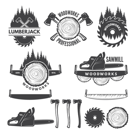 Monochrome labels set with lumberjack and pictures for wood industry. Stock Illustratie