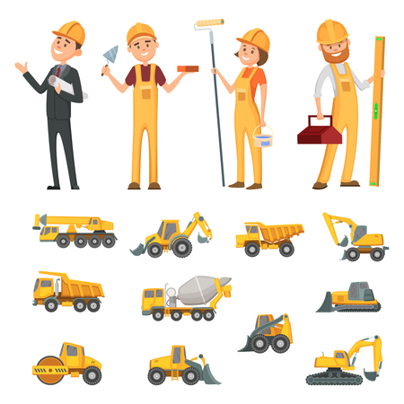 Male and female characters of builders and different illustrations of construction equipment, machines