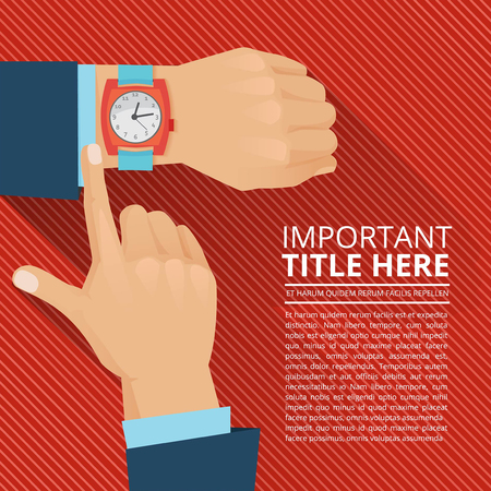 Businessman looking on the hand watch. Vector poster Vectores