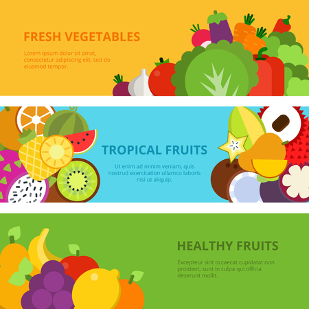 Horizontal banners with flat illustrations of healthy fruits and vegetables. Fruit food organic and fresh, natural vegetarian card and poster vector