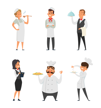Professional staff of the restaurant. Cook, waiter and other cartoon characters. Restaurant service chef character and waiter. Vector illustration