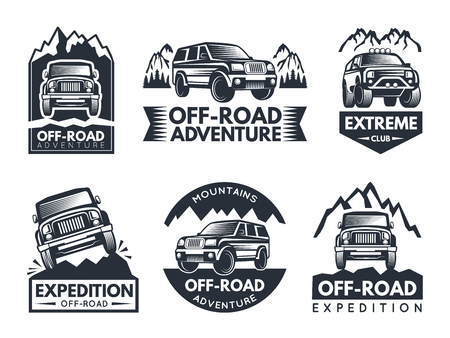 Monochrome labels set with suv cars. Automotive extreme label and emblem, motor vehicle for adventure. Vector illustration Vector Illustration