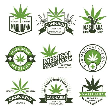医療バッジまたはラベルセット。大麻とマリファナのモノクロイラスト。