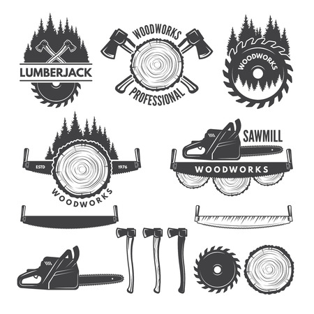 Monochrome labels set with lumberjack and pictures for wood industry. Иллюстрация