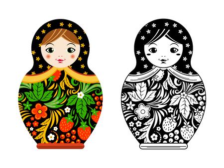 Retro russian doll. Matryoshka painted at khokhloma style. Vector linear and colored pictures. Doll toy russian souvenir, matryoshka cartoon illustration
