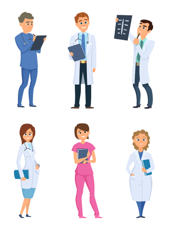 Medic nurses and doctors. Healthcare characters in different poses. People in hospital, physician and medic man, medical nurse, vector illustration