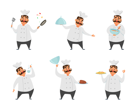 Funny characters of chef in action poses vector illustrations in cartoon style. Illustration