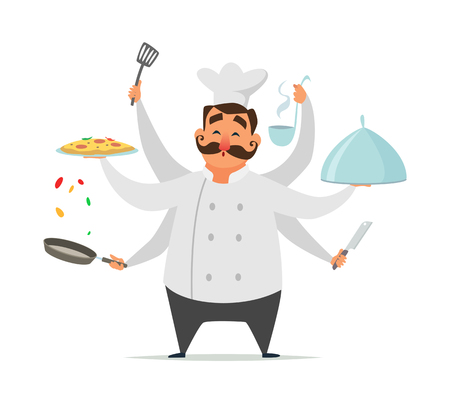Multitasking chef cooking. Vector funny character isolate on white. Multitask kitchen chef cooking talented illustration Illustration