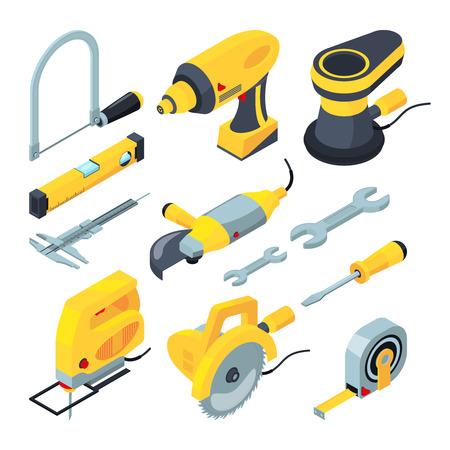 Isometrische hulpmiddelen voor de bouw. Vector 3d illustraties elektronische industriële hulpmiddelen en schroevedraaier