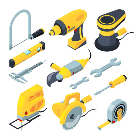 Isometric tools for construction. Vector 3d illustrations electronic industrial tools and screwdriver